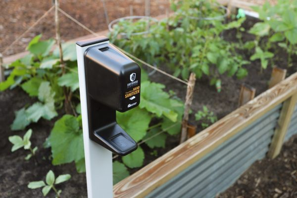 Hand Sanitizer Dispenser in a Garden