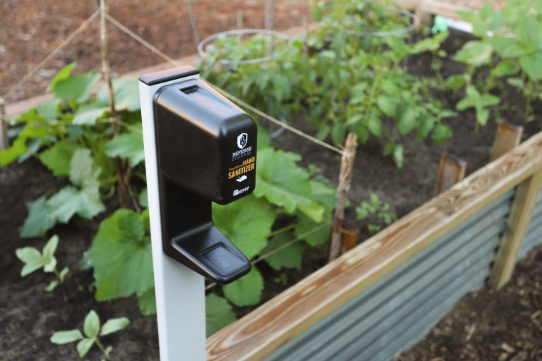 Sanitizer dispenser in garden