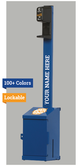 "Fortress Stand shown with custom branding and the words ""100+ Colors"" and ""Lockable"" on the side"